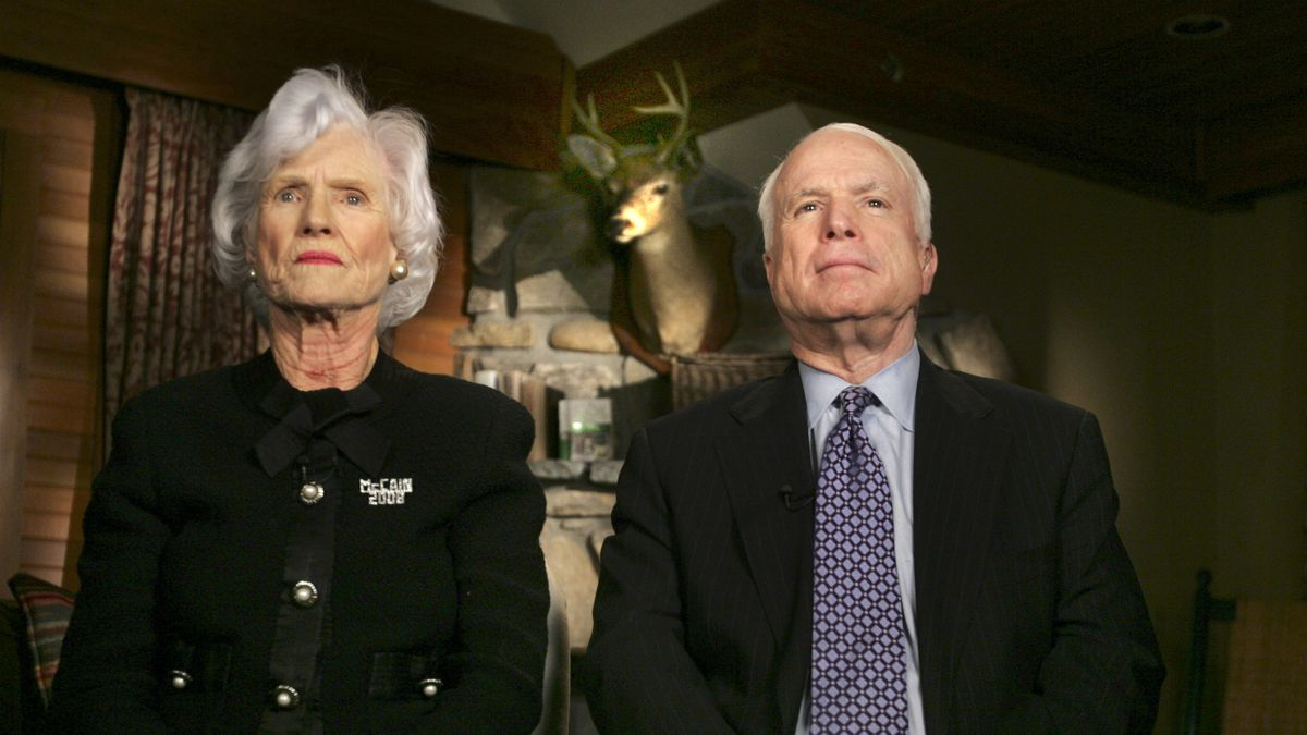 Republican Presidential hopeful, Sen. John McCain, R-Ariz., and his mother Roberta McCain get ready for a live interview on Friday, Nov. 9, 2007. A spokesperson for daughter-in-law Cindy McCain says Roberta McCain died Monday, Oct. 12, 2020