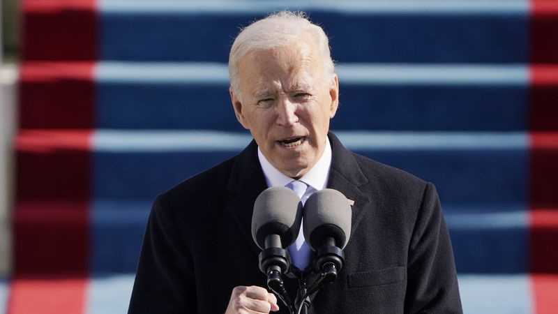 President Joe Biden speaks during the 59th Presidential Inauguration at the U.S. Capitol in...