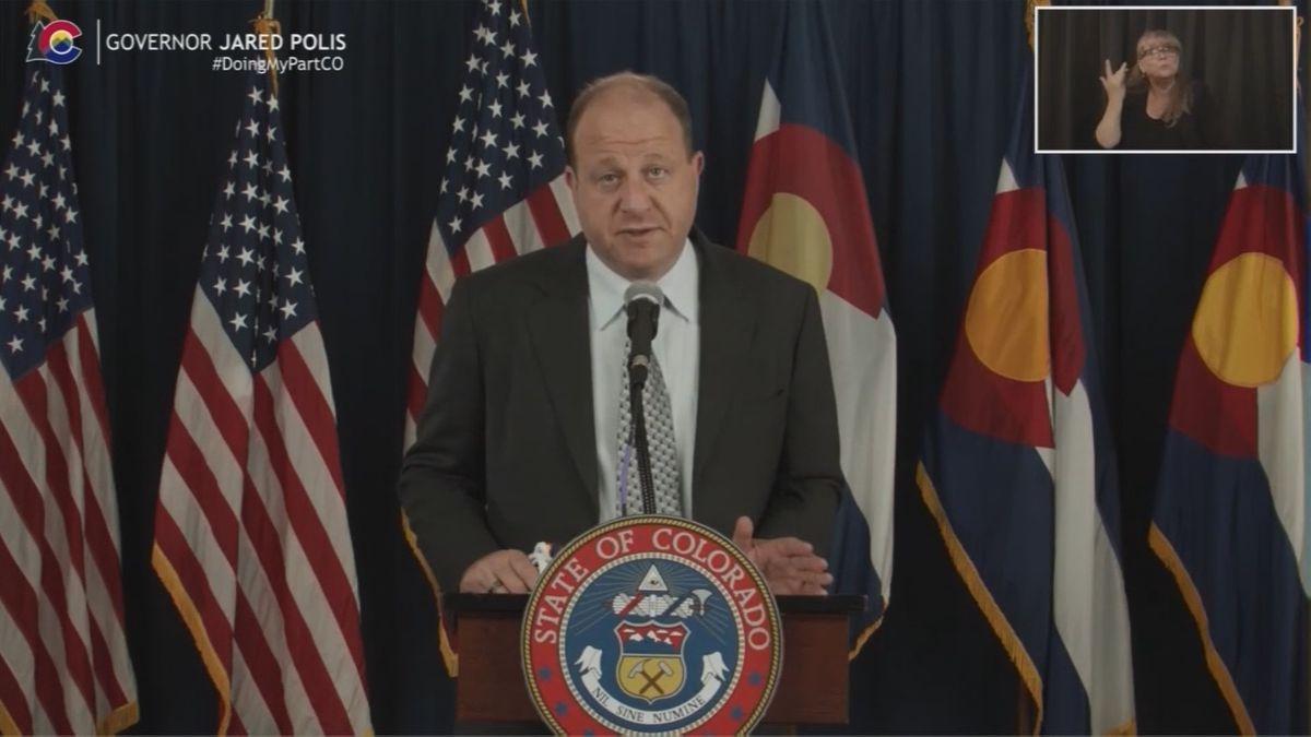Gov. Jared Polis during an April 27, 2021 news conference.