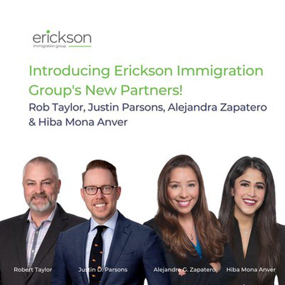 Erickson Immigration Group New Partners — Rob Taylor, Justin Parsons, Alejandra Zapatero, and...