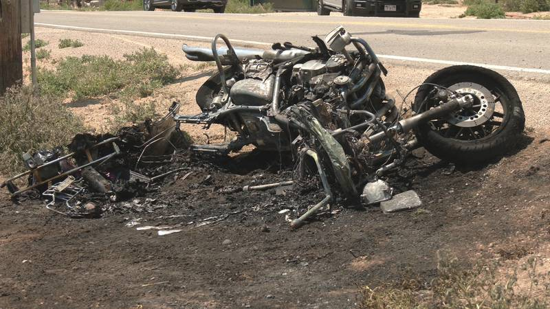 The motorcycle caught on fire as a result of the crash, according to authorities.