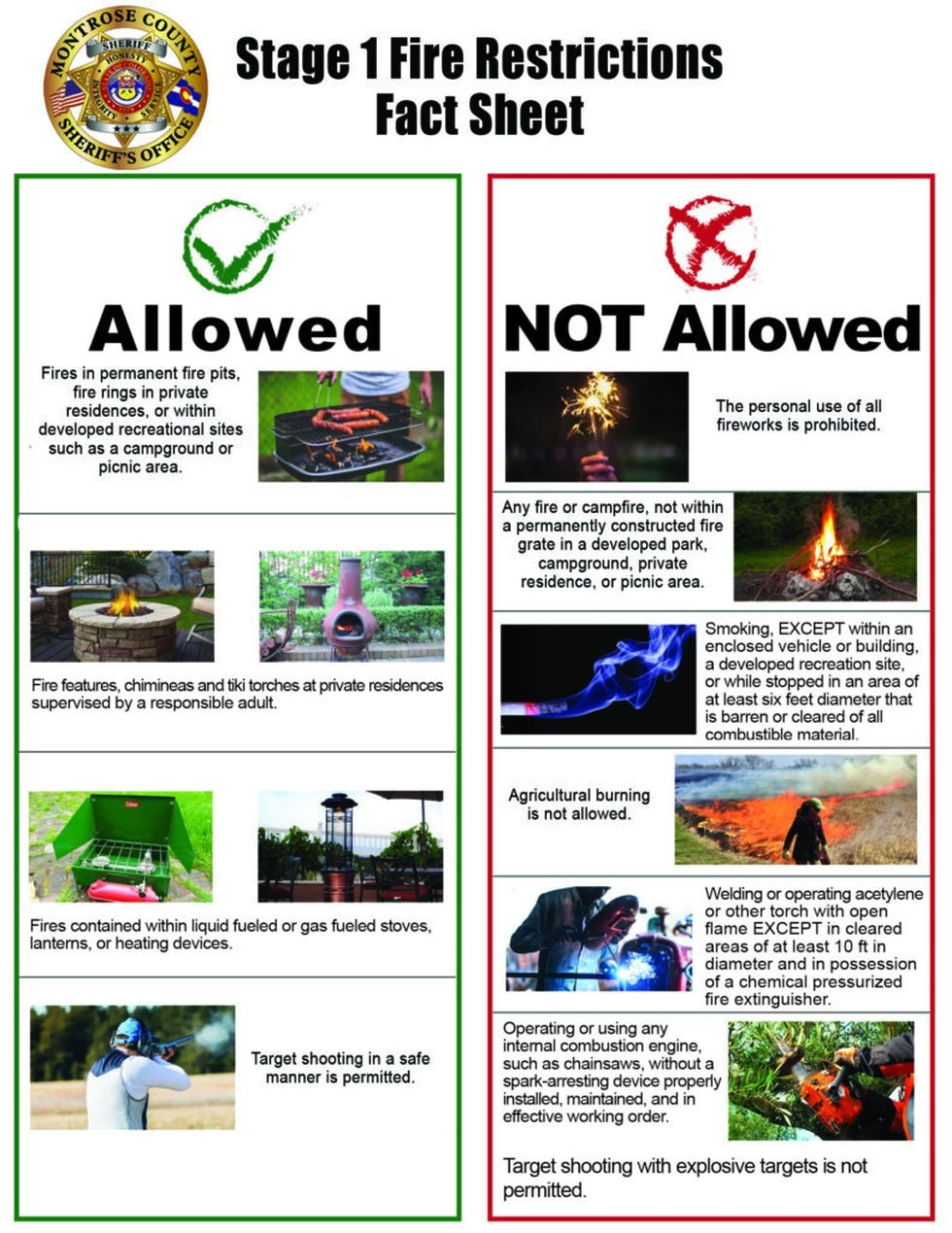 Montrose County Stage 1 Fire Restrictions