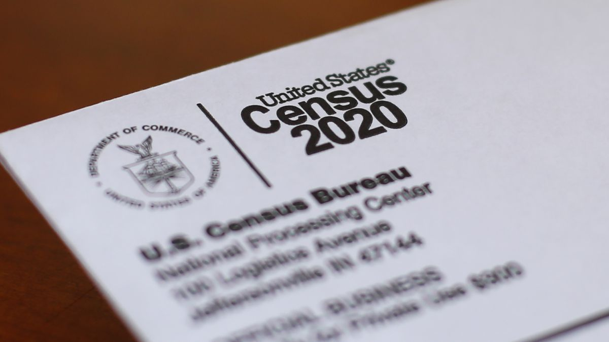 In this Sunday, April 5, 2020 file photo, An envelope containing a 2020 census letter mailed to...