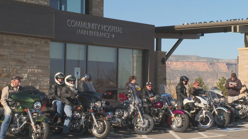 Members of Aerie #595 outside of Community Hospital on April 3, 2021.