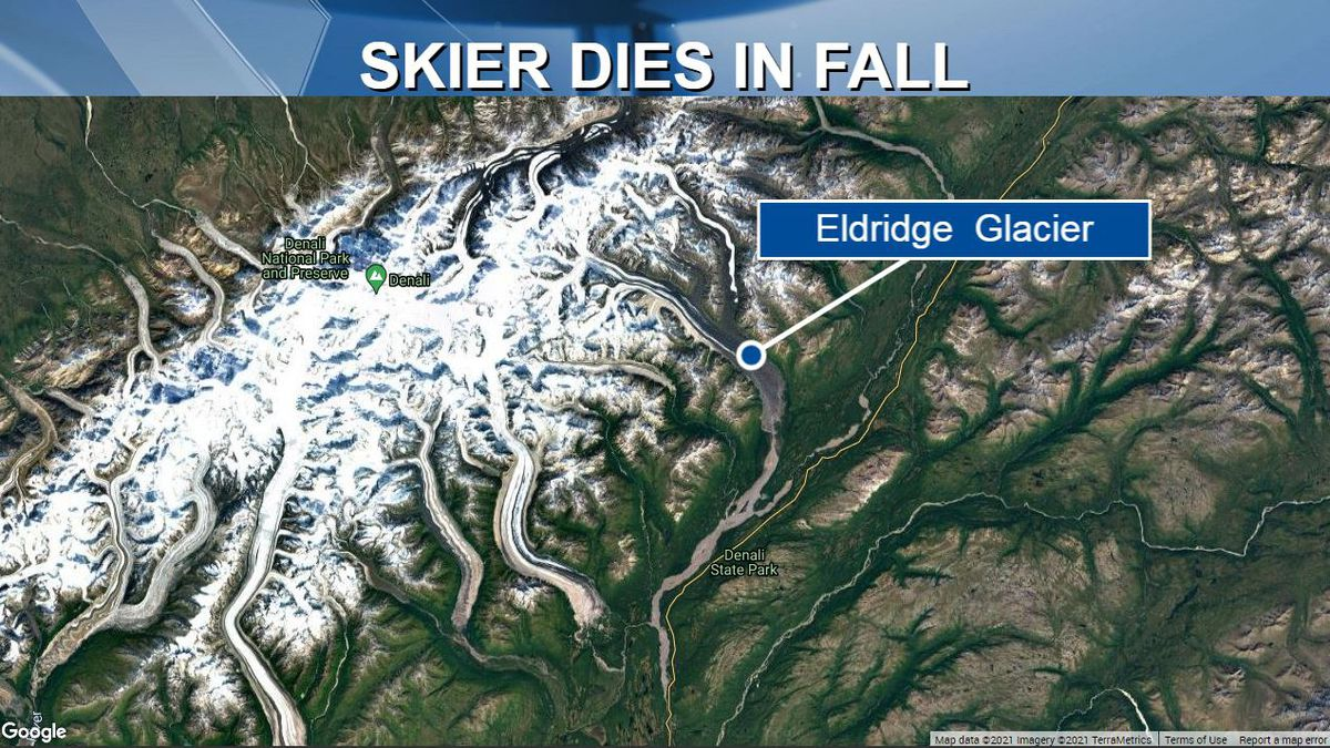 A mountaineering skier died after falling into a crevasse near Elridge Glacier in Denali State...