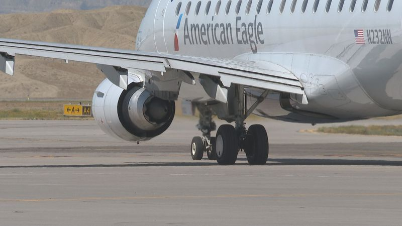 An American Airlines flight departs from GJT
