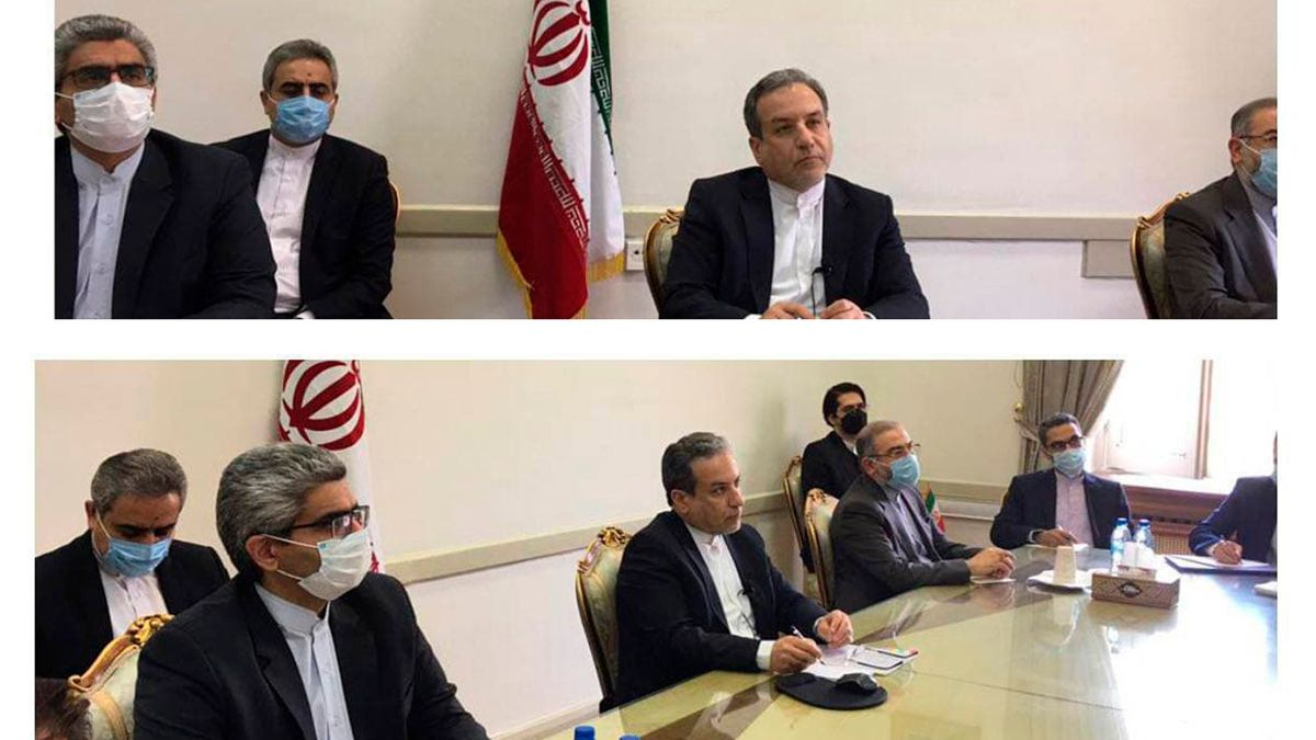 This combined photo released by the Iranian Foreign Ministry, shows Iranian diplomats attending...