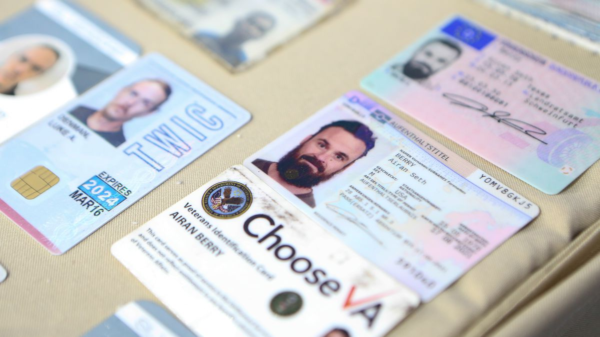 FILE - This May 4, 2020 file photo released by the Venezuelan Miraflores presidential press office shows what Venezuelan authorities identify as the I.D. cards of former U.S. special forces citizen Airan Berry, right, and Luke Denman, left, in Caracas, Venezuela. The two former Green Berets were arrested in May 2020 while participating in a botched raid organized from neighboring Colombia to oust Maduro.