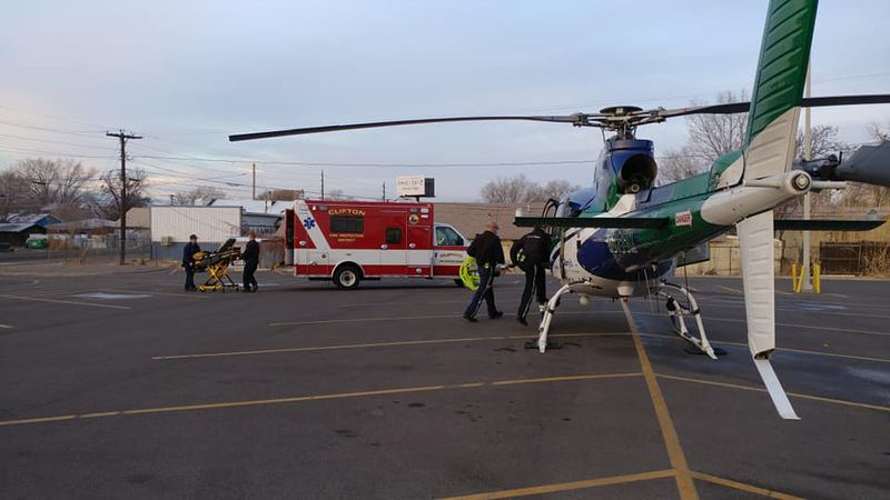 St. Mary's Hospital helicopter lands at Clifton Elementary