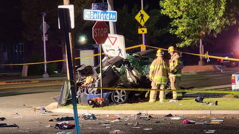 One person is dead after a single vehicle crash at 12th Street and Belford Avenue.