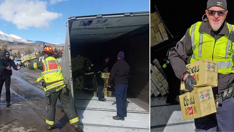 Firefighters helped remove beer from a truck that crashed on 10/15/21.