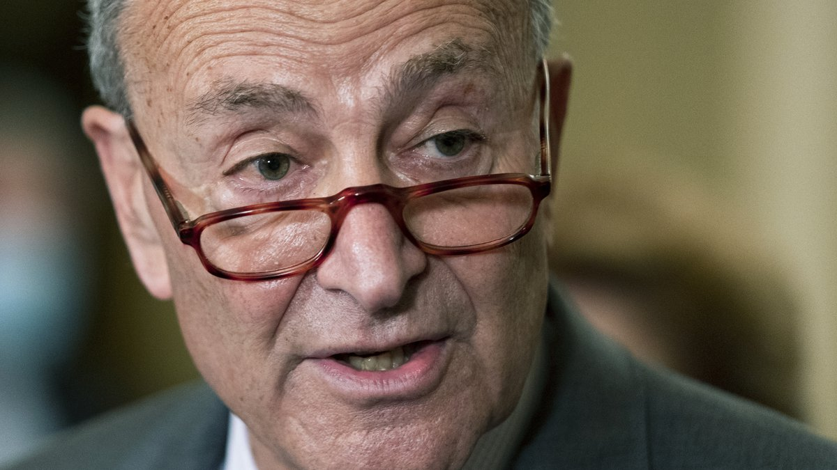 Senate Majority Leader Chuck Schumer of N.Y., speaks to reporters on Capitol Hill in...