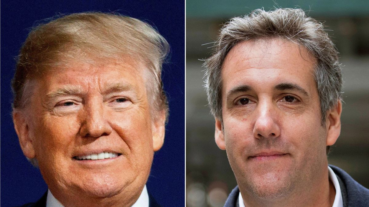 This file combination photo shows President Donald Trump and attorney Michael Cohen. Cohen's memoir about Trump will be released Sept. 8, 2020, by Skyhorse Publishing, which confirmed the news Thursday, Aug. 13, 2020, to The Associated Press.
