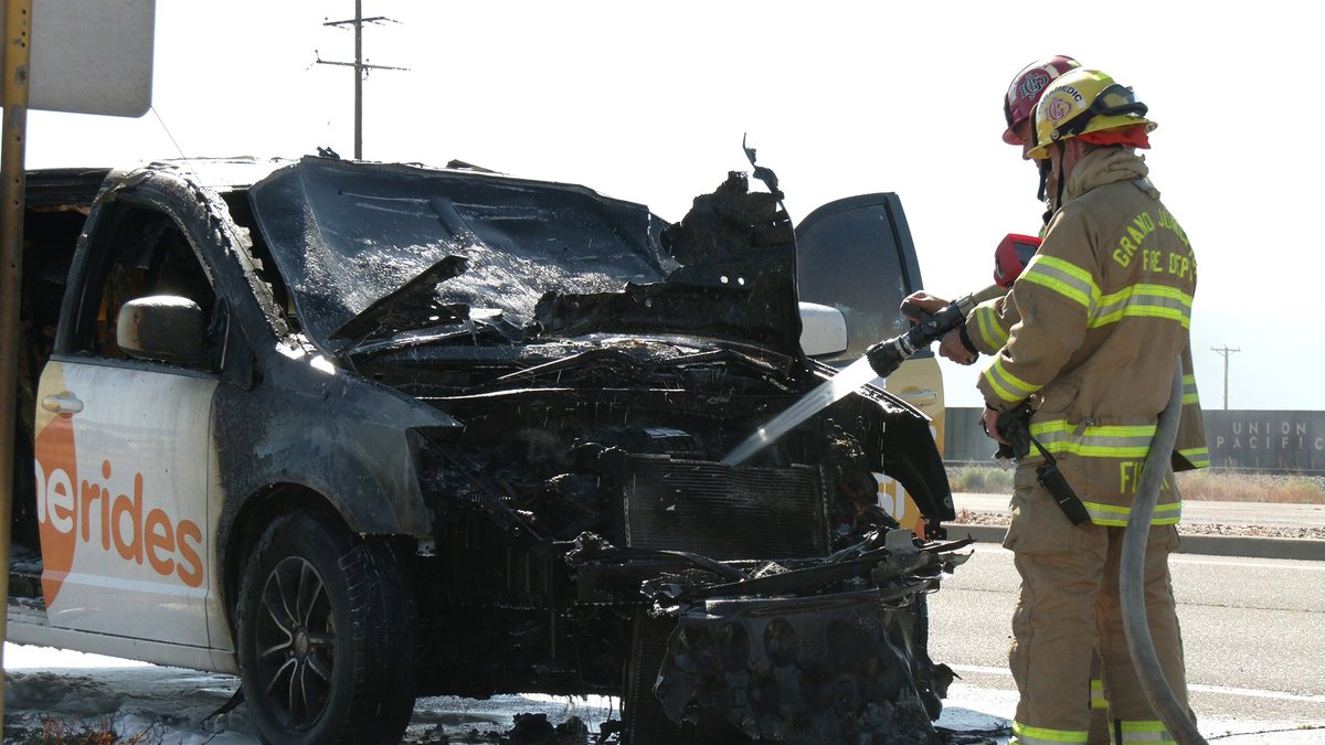 A taxi that caught on fire on Thursday morning briefly shut down the westbound lane on I-70B...