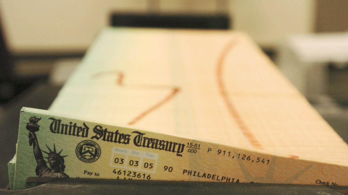 In this Feb. 11, 2005 file photo, trays of printed social security checks wait to be mailed from the U.S. Treasury's Financial Management services facility in Philadelphia. ()