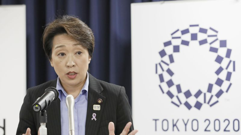 Japan's Olympics Minister Seiko Hashimoto speaks during a press conference at the cabinet...
