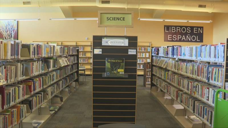 Row of books near science section at Mesa County Library Central Library