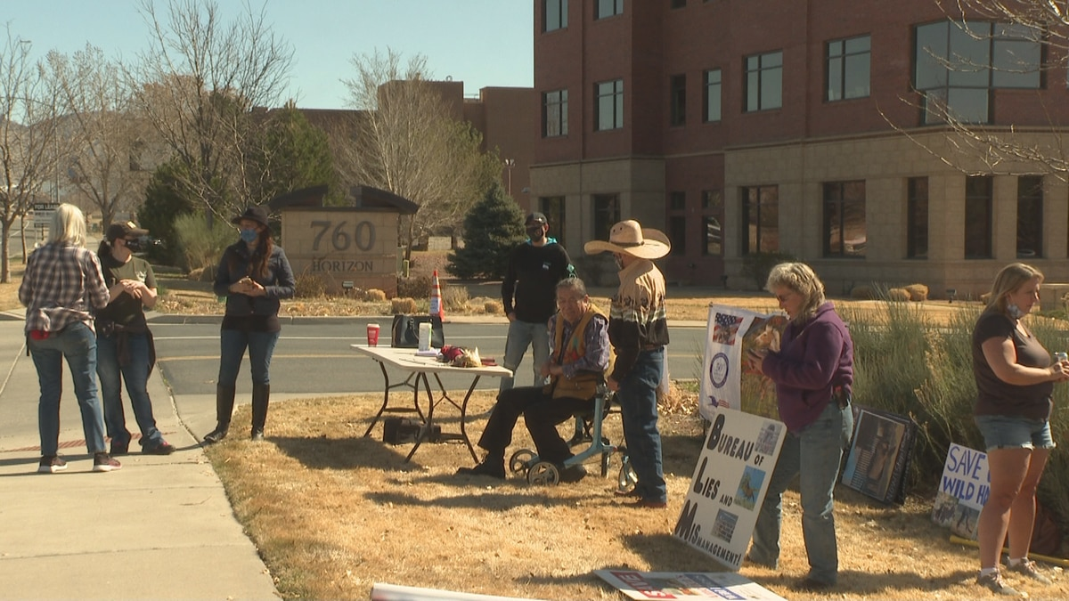 The protest was held outside the Bureau of Land Management headquarters in Grand Junction, Colo.
