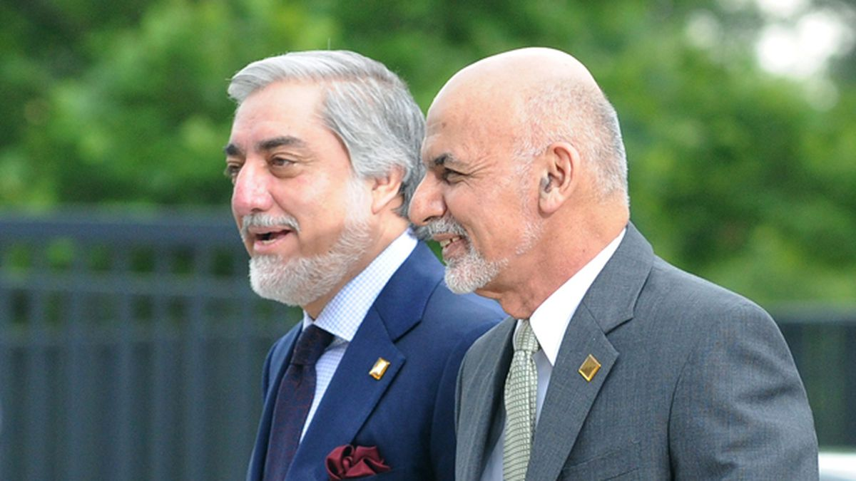 Afghanistan's President Ashraf Ghani, right, and Chief Executive Abdullah Abdullah arrive for sessions of the second day of the NATO Summit, in Warsaw, Poland, Saturday, July 9, 2016. U.S. President Barack Obama and other NATO leaders have begun the second day of a summit meeting in Warsaw that's expected to lead to decisions about Afghanistan, the central Mediterranean and Iraq. (AP Photo/Alik Keplicz)