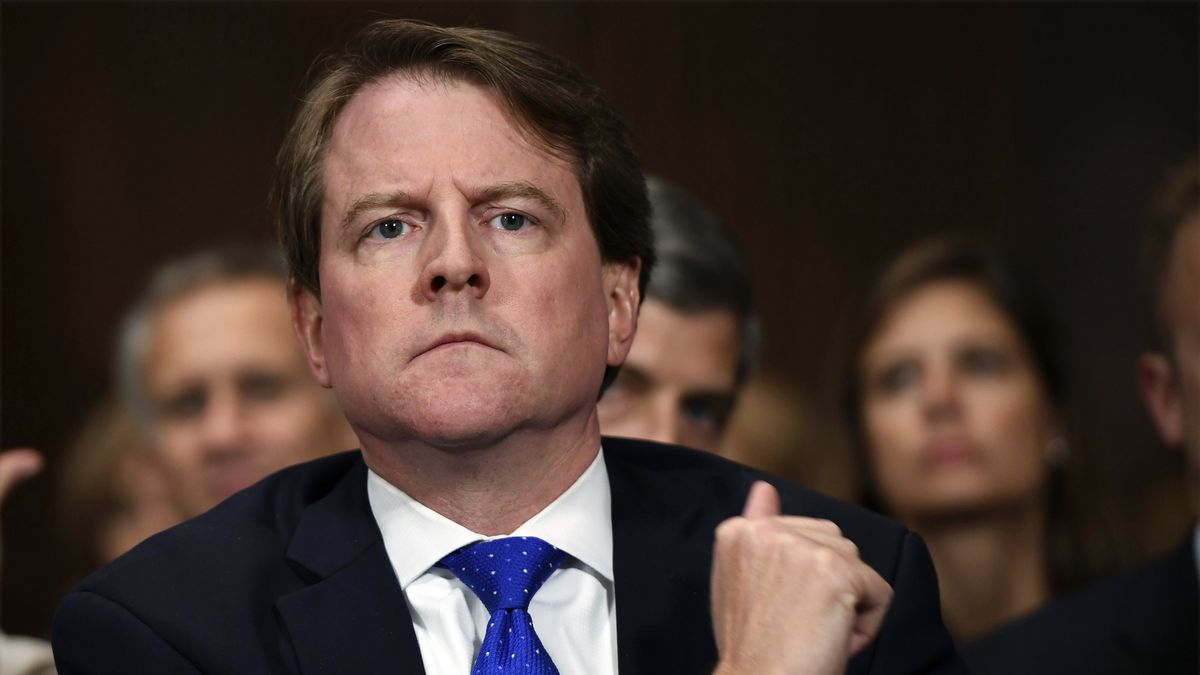 In this Sept. 27, 2018, file photo, then-White House counsel Don McGahn listens as Supreme...
