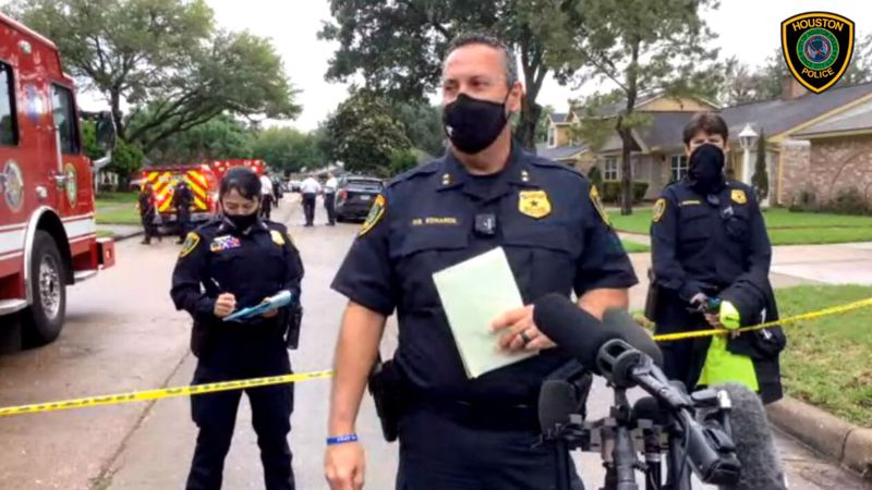 Houston Police Assistant Chief Daryn Edwards holds a news conference Friday. Police discovered...