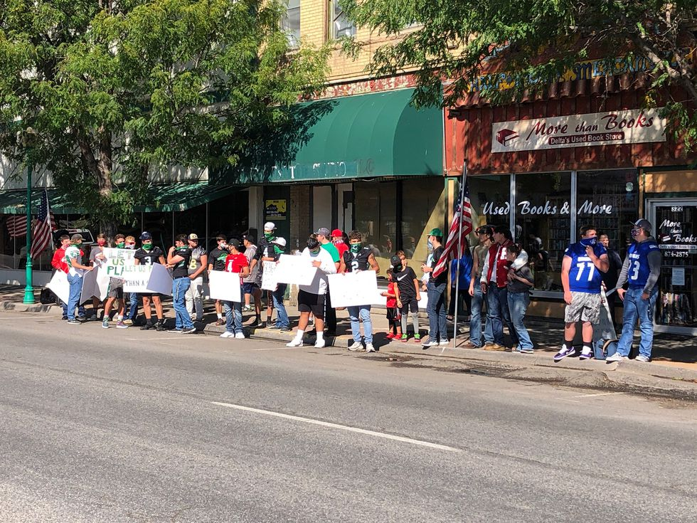 Student-athletes from across the Western Slope joined together on Sept.12 in Delta to protests CHSAA's original decision to not have a fall football season.
